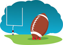Football and goal post clipart